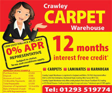 Crawley Carpet Warehouse Interst Free Credit